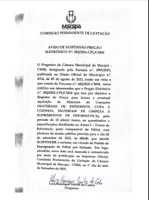 AVISO DE SUSPENSÃO PREGÃO ELETRÔNICO N° 002/2021-CPI/CMM