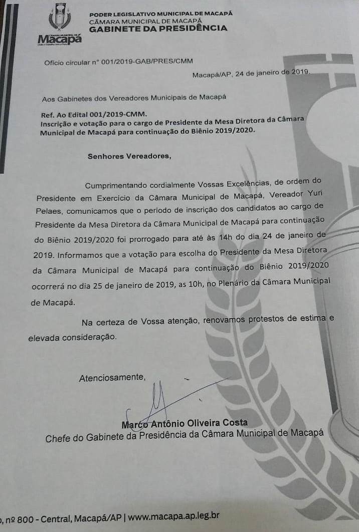 Ofício circular n° 001/2019-GAB/PRES/CMM- Ref.Inscrição e votação para o cargo de Presidente da Mesa Diretora da Câmara Municipal de Macapá para continuação do Biênio 2019/2020.