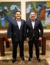 Presidente Marcelo é recebido na residência oficial do presidente do Senado Federal